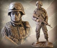 American Soldier: African American Male Bronzetone Sculpture