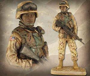 American Soldier: African American Male – Handpainted Sculpture