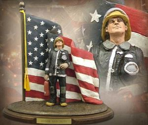 Honor and Duty – Black & Silver Firefighter Sculpture