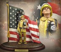 Honor and Duty – Tan and Yellow Firefighter Sculpture
