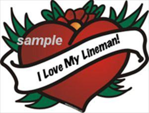 """I Love My Lineman"" Heart  Sticker"