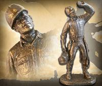"""Lineman"" Bronzetone Sculpture"