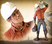 """ Lineman"" Hand Painted Sculpture"