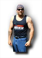 """Power on Tap"" Men's Tank Top, blue or black"