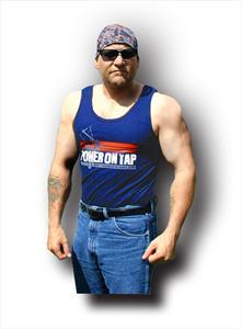 """Power on Tap"" Men's Tank Top, blue or black"